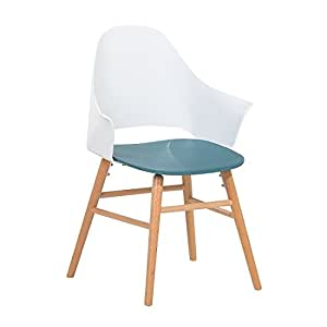 Contemporary Dining Chair White and Blue Plastic Wooden Legs Boston