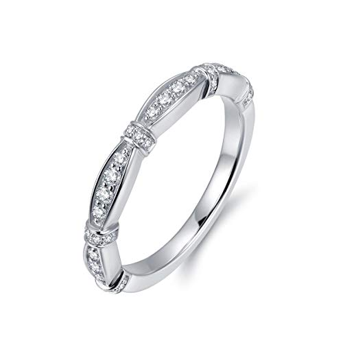 Hafeez Center New Marquise Design 2mm Micropave Simulated Diamond Cubic Zirconia CZ Wedding Band Eternity Ring for Women and Girls, Rhodium Plated Sterling Silver (8.5)
