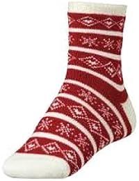 Women's Cozy Cabin Sock - Red/Cream