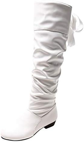[해외]ZOMUSAR Women`s Boots Women`s Warm Knee Boots Lace Strappy Flat Boots Large Size Student Shoes Boot / ZOMUSAR Women`s Boots, Women`s Warm Knee Boots Lace Strappy Flat Boots Large Size Student Shoes Boot White