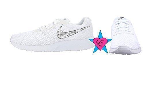 3ee6b0974d58 White Women Glitter Sneakers Bling Nike Tanjun Shoes. by eshays