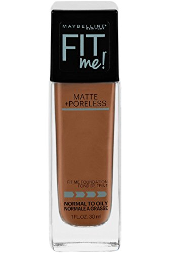 Maybelline Fit Me Matte + Poreless Liquid Foundation Makeup, Mocha, 1 fl. oz. Oil-Free Foundation
