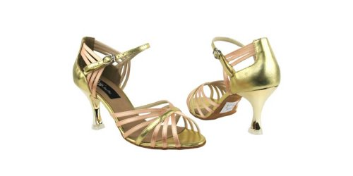 Very Fine Shoes Competitive Dancer Series CD3012 2.5 Beige Satin & Gold 0bFBo0