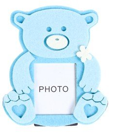 DISOK - Portafotos Fieltro Osito Baby Azul - Marcos Fotos Bautizos: Amazon.es: Hogar