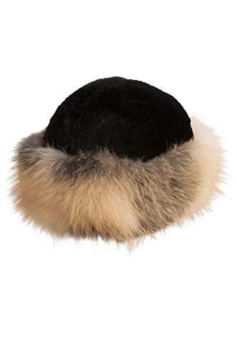 - Overland Sheepskin Co Sheared Beaver Fur Cossack Hat with Fox Fur Trim