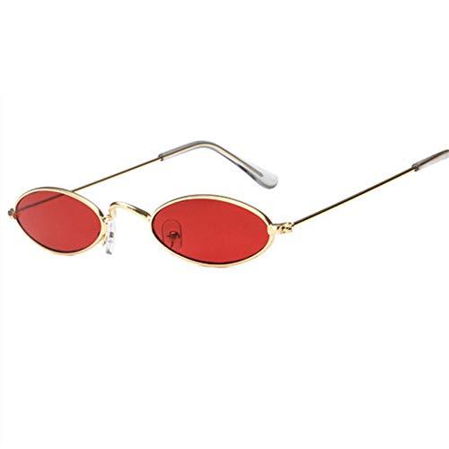 Gflotusas Oval Sunglasses Men Women Retro Metal Frame Yellow Red Vintage Tiny Round Skinny Male Female Sun Glasses UV400 C3