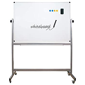 Mobile Dry Erase Board, Double Sided Magnetic White Board, 48X36 Inch, Large Reversible Presentation Whiteboard On Wheels Rolling with Aluminum Stand