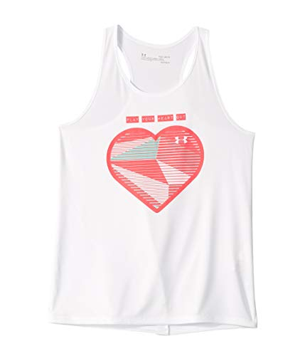Under Armour Girls' Play Your Heart Out Tank, White//Penta Pink, Youth Small