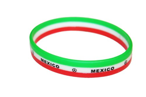 Mexico Country Flag Colors 3 Layer Silicone Bracelet Wristband.. New -