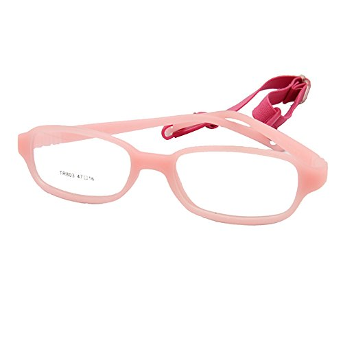 EnzoDate Kids Optical Glasses Frame Size 47-16-120 with Cord, No Screw Bendable (pink)