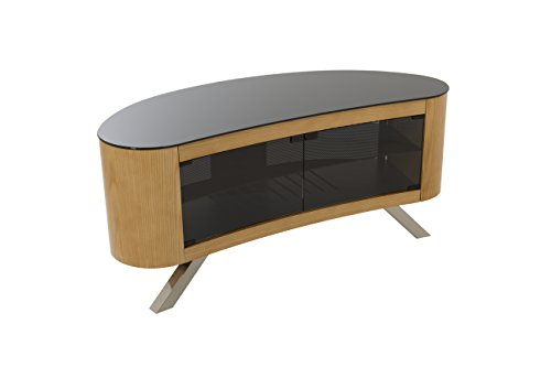 AVF Affinity Plus - Bay Plus 1150 Curved TV Stand (Oak/Black - Technology Wood Oak Stand Tv