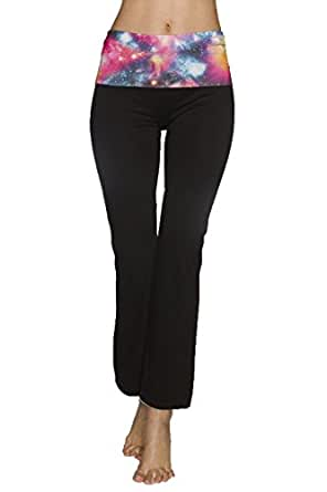Just One Women's Sporty Foldover Top Yoga Pants (Black Galaxy, L)