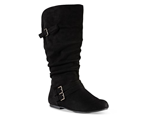 Twisted Women's Shelly Wide Width/Wide Calf Faux Leather Knee-High Scrunch Buckle Strap Riding Boot - Black Suede, Size -