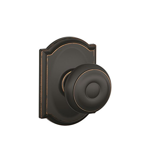 Schlage F10 GEO 716 CAM Camelot Collection Georgian Passage Knob, Aged Bronze