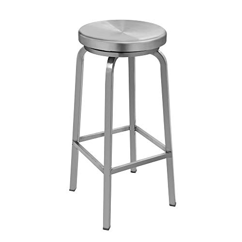 IRICA Stainless Steel Swivel Round Seat Backless Bar Hgt Stool, Commercial Quality, Satin Brushed Finish, 30 inches Seat Hgt, Indoor Porch Use, 1 Pack