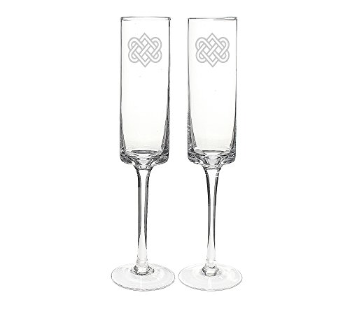 Cathy's Concepts Celtic Knot Contemporary Champagne Flutes (8 Wedding Bells)