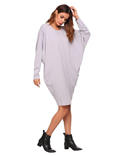 SE MIU Women Long Sleeve Loose Dress Batwing Sleeve Round Neck Dress With - Sale Miu For Miu