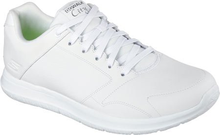 Skechers Go Walk City Resist Mens White Leather Lace Up Sneakers Shoes