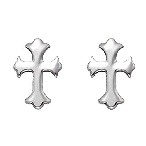 Stainless Steel Florentine Cross Stud Earrings