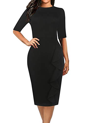 oxiuly Women's Casual Simple Soild Half Sleeve Round Neck Work Business Pencil Sheath Fall Plus Stretchy Dress OX055 (XXL, Soild Black)