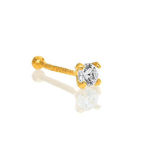 (JewelStop 14K Solid Yellow Gold Nose Ring Bone CZ Prong Set - 0.5mm 24 Gauge 9mm Long)