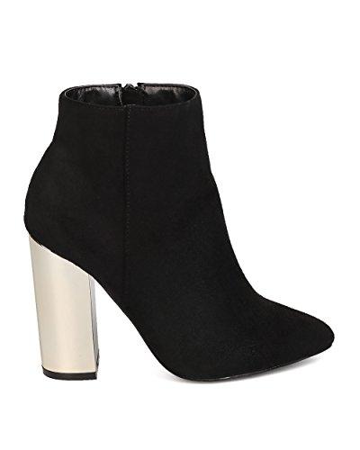 Static Footwear Pointy Toe Monet Bootie 1 Heel Block Faux Women Suede Metallic Black aarqgYO