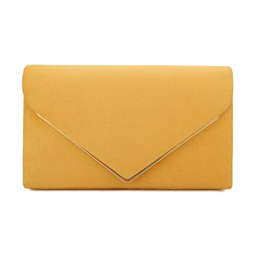 (Charming Tailor Faux Suede Clutch Bag Elegant Metal Binding Evening Purse for Wedding/Prom/Black-Tie Events (Mustard))