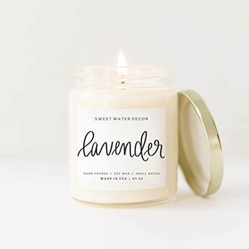 Lavender Natural Soy Wax Candle Clear Jar Gold Lid | Bergamot Lavender Cedar Spa Scented Essential Oil Candle Lead Free Cotton Wick Rustic Modern Farmhouse Bathroom Accessories Gold Decor Made in USA