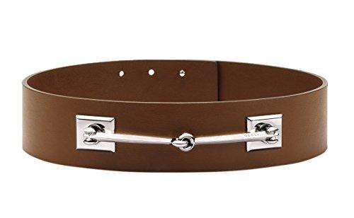 Gucci Women's Brown Leather Horsebit Waist Belt, 30, (Horsebit Belt)