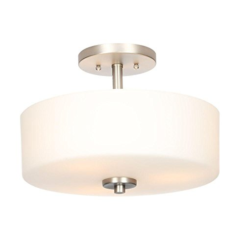 Cheap 3-Light Brushed Nickel Semi-Flush Mount Light with White Shade
