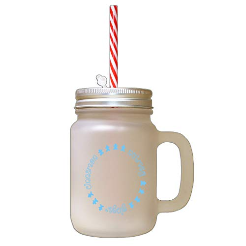 Light Blue Cinnamon, Nutmeg, Ginger Frosted Glass Mason Jar With Straw
