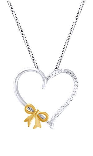 - Jewel Zone US White Natural Diamond Heart with Bow Pendant Necklace in 14k White Gold Over Sterling Silver (1/8 Ct)