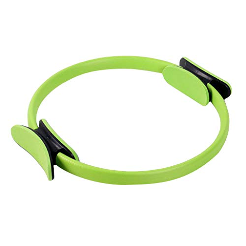 Pilates Ring, Tuscom 16 Inch Fitness Ring Flexible Weight Loss Body Toning Magic Circle with Dual Grip Handles Fitness Training Ring for Legs, Fitness Circle, Thigh Exercise, Pilates Circle (Green)