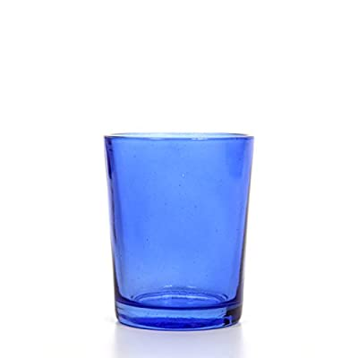 Hosley Set of 12 Blue Glass Tea Light Holders. Ideal for Weddings, Parties, Spa & Aromatherapy. Great Value. Use Tea Lights, Candle Gardens O3