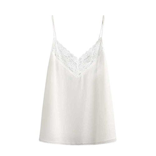 Chiffon Bandeau (BSGSH Women's Summer Cool Casual V Neck Sleeveless Lace Chiffon Cami Tank Top (S, White))