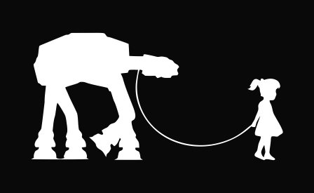Girl Walking Robot Star Wars At-At Decal Vinyl Sticker|Cars Trucks Vans Walls Laptop|WHITE |8 x 4 in|CCI442
