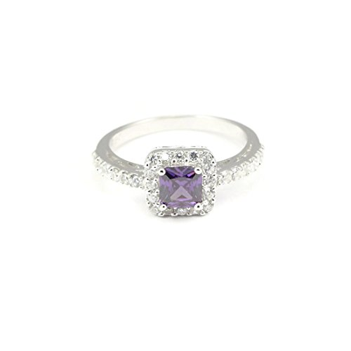 Accent Halo Wedding Engagement Ring Princess Cut Square Simulated Amethyst Round CZ 925 Sterling Silver (Cut Princess Accent)