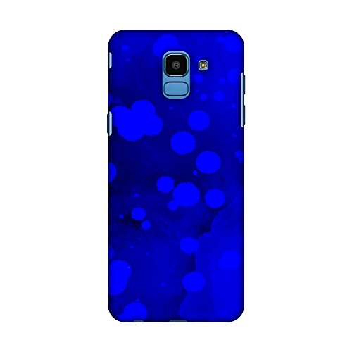 AMZER Slim Fit Handcrafted Designer Printed Snap On Hard Shell Case Back Cover Skin for Samsung Galaxy J6 (2018) - Dalmatian - Blue Polka Spots On Electric Blue HD Color, Ultra Light Back Case