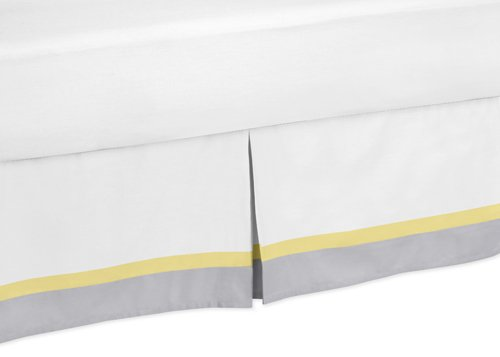 Sweet Jojo Designs Yellow, Gray and White Mod Garden Queen Bed Skirt for Girls Flower and Butterfly Bedding -