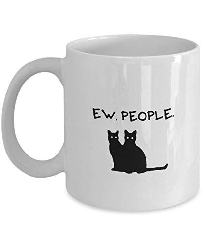 Dozili Coffee Mug With Funny Saying Birthday Gift For Cat Lovers Friends Ceramic 11 Ounce, 11 Oz, White