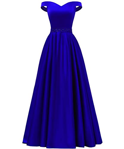 YORFORMALS Off The Shoulder A-line Beaded Satin Plus Size Prom Dress Long Evening Ball Gown with Pockets Size 22 Royal Blue