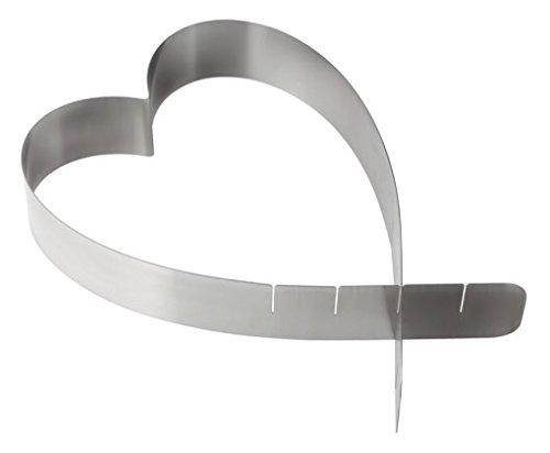 18 x 18 x 5 cm Zeller 43730 Cercle /à Tarte Coeur 18-26,5cm en INOX Acier Inoxydable Argent