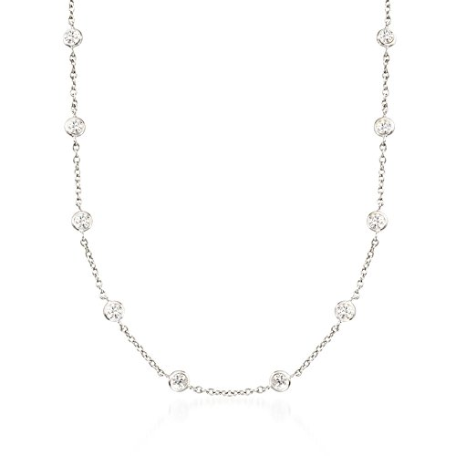 Ross-Simons 4.50 ct. t.w. Bezel-Set CZ Station Necklace in Sterling Silver ()