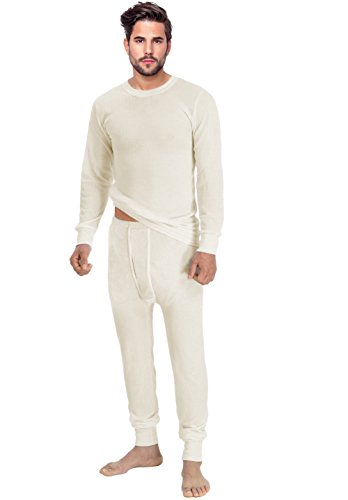 Rocky Men's Thermal 2pc Set Long John Underwear Medium Natural (Bottoms Thermal Natural Knit Underwear)
