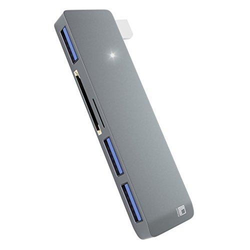 Type C HUB - 3 Port USB 3.0-1 SD Micro SD Card Reader - High-Speed Data Transfer - Aluminum Body - by Latorice by Latorice