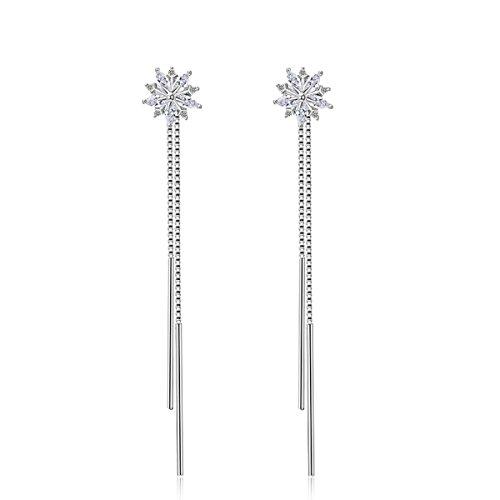 Tahitian Costumes For Sale (Kissmilk Long Drop Cubic Zirconia Snowflake Shiny Stud Dangle Earrings)