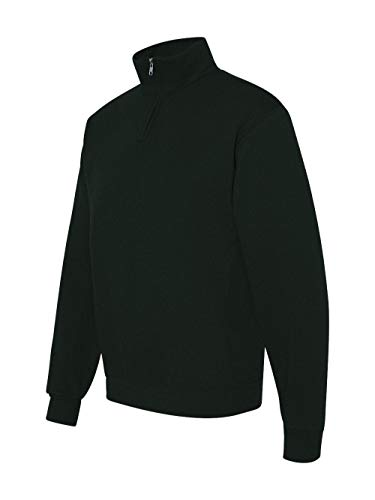 (Jerzees Mens 995 Quarter-Zip Cadet-Collar Sweatshirt, Black, Large)