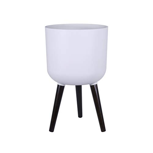12 Inches Indoor Planter with Stand, 21 Inches Tall Matte White Planter Pot for House Plants - Planter Pot with Drainage Hole and Drainage Plug - by D'vine Dev (21 Vine)
