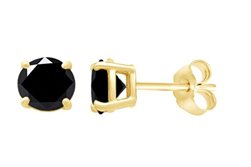 IGI Certified Round Shape Black Natural Diamond Solitaire Stud Earrings In 14k Solid Yellow Gold (0.80 cttw) ()