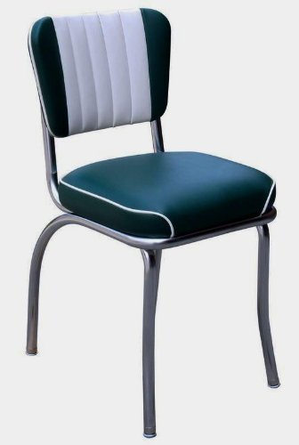 Richardson Seating Retro 1950s Waterfall Seat Diner Chair In Green And White
